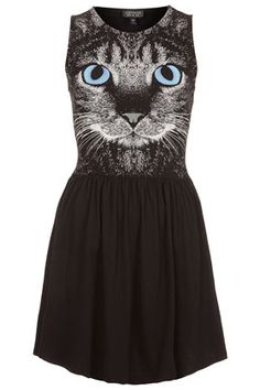 {Cat Face Skater Dress} 100% cotton creepy-cute kitty frock