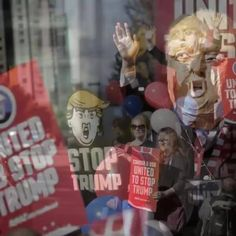 Campaigners from organization named Avaaz gathered at Trump International Hotel and Tower in Vancouver to launch a movement urging Americans living in Vancouver to register and vote in the upcoming election so as to stop Donald Trump from being elected U.S. President. (Xinhua / Liang Sen)