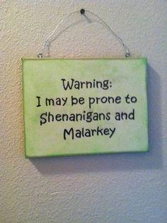 Funny Wall Sign, St Patrick's Day, Irish Gift , Irish Humorous wall decor, Malarkey and Shenanigans! O Leprechaun, St. Patricks Day, Saint Patricks, Irish Quotes, Irish Sayings, St Patrick's Day Decorations, St Patrick's Day Crafts, Fun Crafts, Irish Blessing