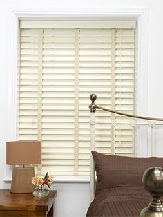 Antique White & Oyster Wooden Blind with Tapes - available in 64mm slats, making it ideal for larger windows, this off white blind will give your home a rustic, traditional feel. #blinds #wooden #venetian #tapes