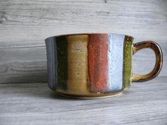 Otagiri Stoneware Handle Mug Earth Tones Iridescent Glaze 12 oz Vintage Japan