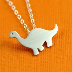 Darling Dinosaur Necklace in silver by anoriginaljewelry $48