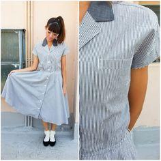 1950 Vintage Dress/ Stripe Lover Dress/ Medium Dress/ Small Dress/ Striped Dress/ Grey Dress/ Japanese Vintage/ Pocket ShirtDress/ CapSleeve by HEIRESSxVintage on Etsy