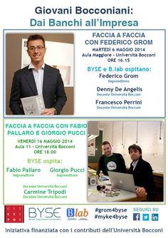"Locandina di ""Giovani Bocconiani: dai banchi all'impresa - GROM & MYKE"""