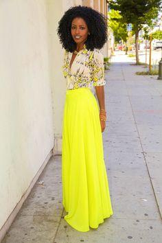 Style Pantry, rocking a neon maxi circle skirt.
