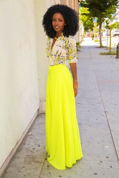 Printed button down, bright yellow maxi and baubles