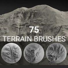 Terrain Brush Pack for Zbrush - 75 Brushes, Jakob Menz Zbrush Tutorial, 3d Tutorial, Digital Art Tutorial, Alpha Pack, Digital Sculpting, Blender Tutorial, Modelos 3d, Modeling Tips, Blender 3d