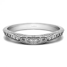 0.18 Carat Vintage Filigree Wedding Band - Curved Rings - Rings