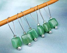 Knitting Stitch Markers Aventurine Beads Semi-Precious by yarnyoda