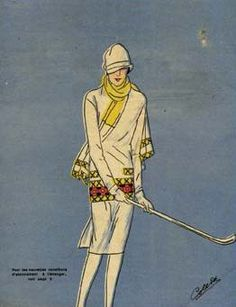 Image detail for -Lady Playing Golf - Fashion Print a lady wearing clothes suitable for ...
