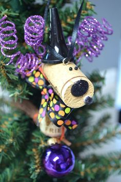 Halloween Wine Cork Witch Ornament