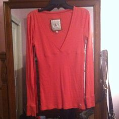 A&F long sleeve *REDUCED* Salmon colored long sleeve v-neck. Line under bust. 60% cotton and 40% polyester Abercrombie & Fitch Tops
