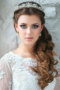 half up half down wedding hairstyle with pearls hair crown