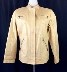 Chico's Faux Leather Zip Front Zip Pocket Yellow Jacket LkNew Size 1 Med 8 10 Fashion Deals, Jackets For Women, Leather Jacket, Pocket, Zip, Yellow, Best Deals, Coat, Shopping