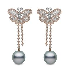 YOKO London pearl earrings in rose gold with diamonds, set with 14-15mm Tahitian pearls.