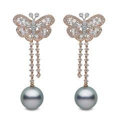 YOKO London rose gold earrings featuring diamonds and 14mm-15mm Tahitian pearls.