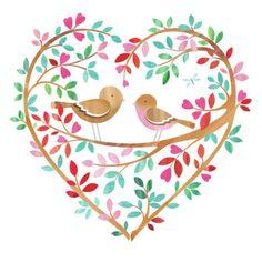 Birds in Tree Heart (Helen Rowe) Heart Illustration, Garden Illustration, Heart Art, Bird Art, Cute Art, Painting & Drawing, Decoupage, Artsy, Collage