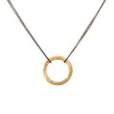 #Gold Brushed Circle Hematite #Necklace. You can never go wrong with a simple and perfect circle that edges out with some mixed metal. #ktcollection