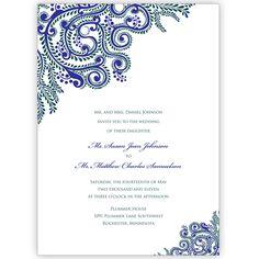 Printable Vines Indian Wedding Invitations Digital Files for Self-Print. $45.00, via Etsy.