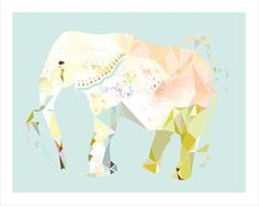 """elephant, 8 x 10, archival art print, """"the matriarch"""", triangle, nursery, geometric, colorful, animal, pattern, home, wall hanging, decor, on Etsy, $15.00"""