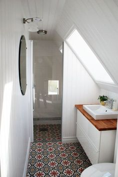 Adding an attic bathroom may seem like an appealing idea. One of the benefits of an attic bathroom is that it can create an additional living space in the house. Small Attic Bathroom, Loft Bathroom, Upstairs Bathrooms, Bathroom Renos, Bathroom Ideas, White Bathroom, Bathroom Designs, Tiny Bathrooms, Attic Shower