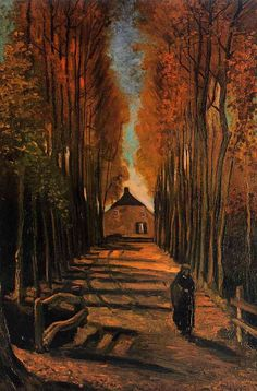 「夕暮れのポプラ並木」1884 ファン・ゴッホ美術館