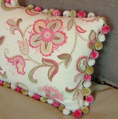 Pink  Pillow with Pom Pom Trim by CustomComforts on Etsy,