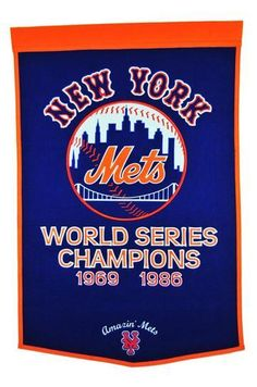New York Mets MLB Baseball Dynasty BannerIndoor wool flag with history of team championshipsWill ship in business x licensed wool banner commemorating the championships.A uniquely hand-crafted, vintage style, wool banner feat. New York Mets Baseball, Ny Mets, The Championship, National Championship, Mlb Teams, Baseball Teams, Baseball Hat, Sports Teams, Baseball Wallpaper