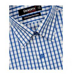 Blue & White Check Dress Shirt