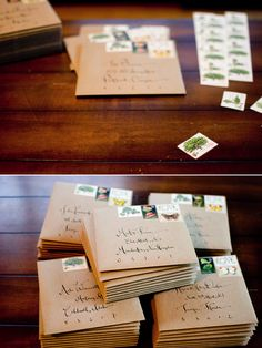 This couple used cheap stamps so that they could put a whole bunch on each letter. I know we're not mailing these, but I think that's awesome.