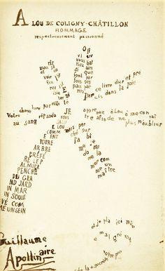 Calligramme-palmier de Guillaume Apollinaire à Lou de Coligny-Châtillon : « Apprenez ô Lou à me connaître afin de ne plus m'oublier »