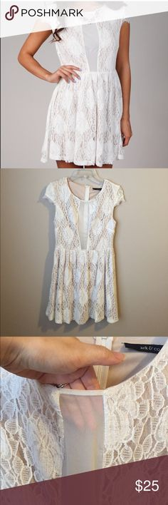 Ark & Co. Off white lace dress Gorgeous off white lace dress with mesh front. See last pic. Was going to wear for bridal shower but found another dress. Great fit and comfortable. Such a beauty! New with tags. Ark & Co Dresses
