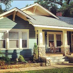 Bungalow… Dream home. Colorful bungalow, rock front porch (by my dad) with white columns, airy space, and hardwood floors. Craftsman Cottage, Craftsman Exterior, Craftsman Style Homes, Craftsman Bungalows, Bungalow Homes Plans, Bungalow Porch, Craftsman Columns, Craftsman Porch, Exterior Homes
