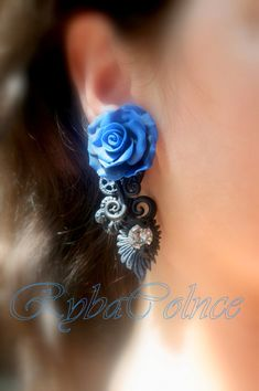 Rose earrings with zirconium 10 mm/  steampunk/Fake ear gauge / Faux gauge/Gauge earrings / fake piercing