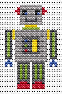 Sew Simple Robot cross stitch kit from Fat Cat Cross Stitch Finished size approx…