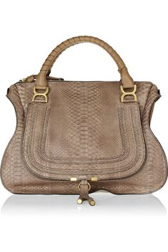 Chloé Marcie Large python and leather tote