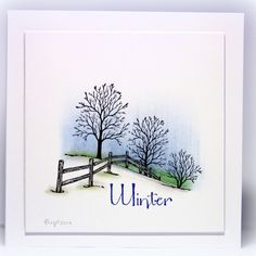 Serendipity Stamps Winter Fenceline and Winter rubber stamps.   Winter is a $1 Cling Stamp