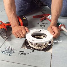 Install a Ceramic Tile Floor in the Bathroom - Boden Ceramic Tile Floor Bathroom, Tile Floor Diy, Bathroom Carpet, Bathroom Flooring, Ceramic Flooring, Wood Tiles, Installing Tile Floor, How To Lay Tile, Toilet Repair