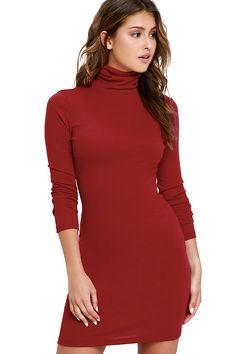 384823de3 Phenomenal Feeling Wine Red Long Sleeve Bodycon Dress