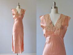 1940s Lingerie  / 40s Bias Cut Nightgown / Satin /  Apricot via Etsy