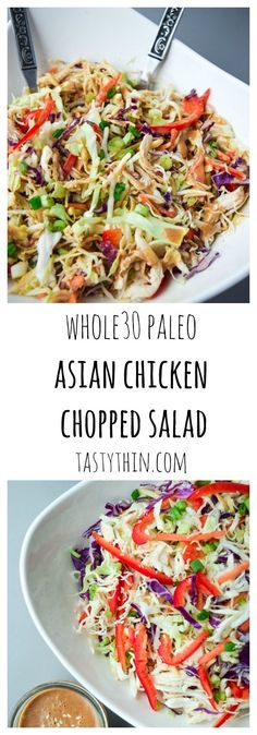 Asian Chicken Chopped Salad (Whole30 Paleo) - a deliciously nutritious salad with a sweet and tangy Asian dressing, free of soy or sugar! | http://tastythin.com