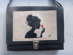 Tasche,Mädchen,Rose,Wollfilz,Designfilz,Außentasche,Beutelhuhn,anthrazit,rot,neu
