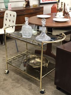 Brass Bar Cart On Sale   Was $385 Sale Price $295  Mid Century Dallas Booth 766  Lula B's 1010 N. Riverfront Blvd. Dallas, TX 75207 Brass Bar Cart, Mid Century Bar, Mid Century Furniture, Dallas, Home Decor, Decoration Home, Room Decor, Home Interior Design, Home Decoration