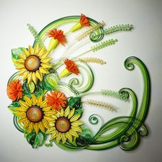 Handmade paper quilling sun flowers framed in by SinyeeCraft