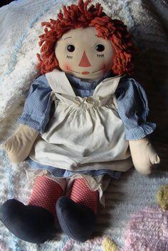1940's Transitional Georgene Raggedy Ann with rare polka dot legs!