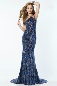 Intricate Beaded Multi Strap Open Back Evening Dress by Alyce Paris. This gorgeous style features a halter neckline with multiple spaghetti straps for a sophisticated unique style. Bridesmaid Dresses, Prom Dresses, Formal Dresses, Art Deco Dress, Fancy Gowns, High End Fashion, Bridal Gowns, Designer Dresses, Night Out