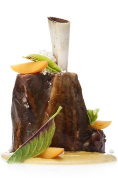 We served this lamb shank with Mughal curry, Indian sorrel leaves, fresh apricot slices, and cashew halvah.