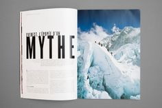Mountain Report Magazine by Nicolas Zentner, via Behance Page Design, Book Design, Layout Design, Print Design, Graphic Design, Family Photo Album, Photo Book, Magazine Design, Magazine Layouts