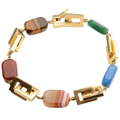 Gold Rectangles Bracelet with Semiprecious Stones | From a unique collection of vintage link bracelets at https://www.1stdibs.com/jewelry/bracelets/link-bracelets/