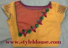 MODELS OF BLOUSE DESIGNS: CROSS CUT BLOUSE STITCHING NETTED BACK NECK STYLE